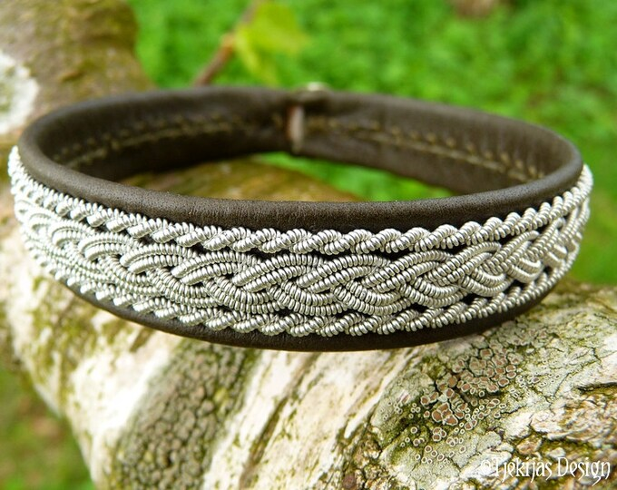 Sami Bracelet. Unisex Leather Wristband. Olive MJOLNIR Viking Cuff Bangle, decorated with Pewter and Handcrafted to Your Color and Size