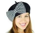 Black Beret Hat Women's Accessories White Houndstooth Big Bow Hat Black Earwarmers Black French Beret Hat Wool Hat Wool Winter Accessories