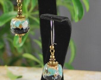 Amazing lampwork nuggets of blue,antique brass earrings, lampwork earrings