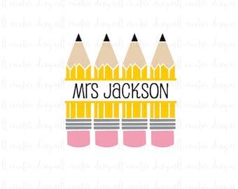 Pencil Monogram SVG, Pencil Split Monogram, SVG Files, Pencil SVG, Teacher Svg, Cricut Files, Silhouette Files