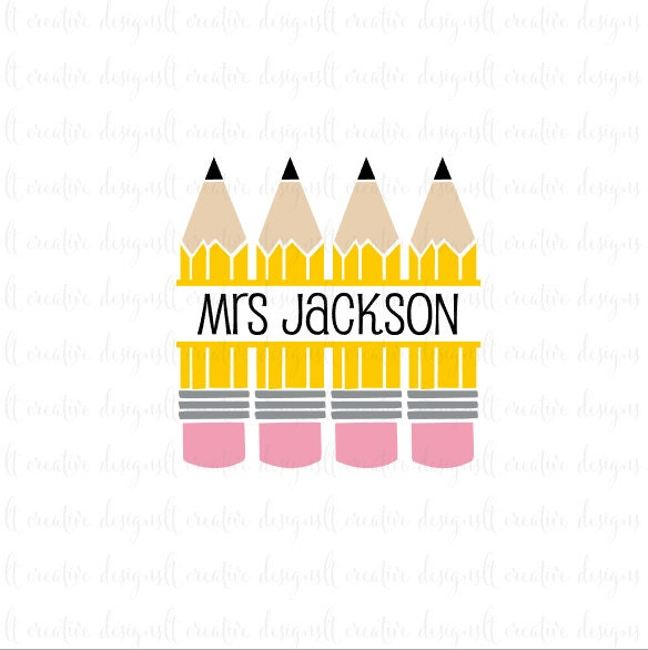 pencil monogram svg pencil split monogram svg files pencil
