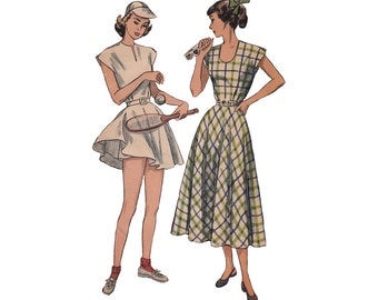 Plus Size Tennis Dress and Shorts Pattern or Flared Day Dress Bust 38 Simplicity 2474 Vintage 1940s Uncut Sewing Pattern