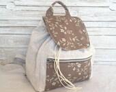 Floral backpack, canvas rucksack, travel back bag for woman, romantic backpack bag
