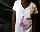 Hand Painted ladies T-shirt Fashion Illustration t-shirt womens t-shirt Hand Printed short Sleeve, Fashion Illustration, size xlarge
