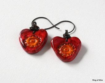 Red Heart Earrings, Polymer Clay Earrings, Sunflower Earrings, Yellow Flower Earrings, Polymer Clay Jewelry, Clay Heart Earrings, Red Hearts