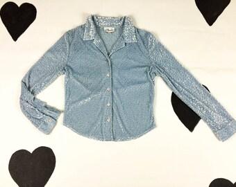 90s Baby Blue Pastel Velvet Burnout Button Down Long Sleeve Shirt / Size Medium / Clueless / Club Kid / Cyber Goth / Ice Queen / Sad Girl