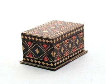 Jewelry Box, Treasury box, Wooden jewelry box 70s, Handmade box, Wood Jewelry Box, Folk Style, Folk Art, Unique Ornament, Trinket box