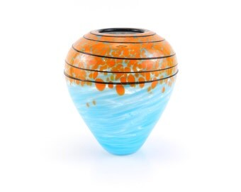 Teal Blue Blown Glass Vase