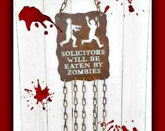 Solicitors will be eaten by zombies, Trespassing Warning,Spooky, Whimsical, Sign for the Door, Halloween or Garden Decor