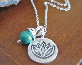 Lotus Necklace - Turquoise Necklace with Sterling Silver Chain, Fine Silver Pendant and Charm