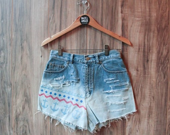 Nautical Anchor Denim Shorts, Vintage Distressed High Waist Cut Off Painted