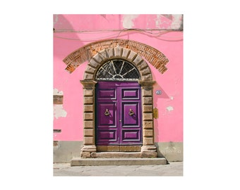 Door Photography, Purple, Pink Wall, Urban Decay, Italy, Travel Print, Old Door, Modern Home Decor, Colorful, Nursery Wall Art, Cottage Chic