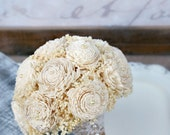 Ready to Ship! Everlasting Wedding Flowers - Bridesmaid Bouquet, Medium Bouquet, MoH Bouquet, Small Bride's Bouquet, Sola Wood, Babys Breath
