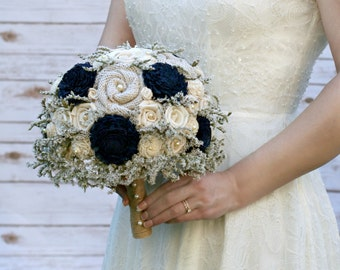 Navy Wedding Bouquet // Rustic, Navy Blue, Dried Flower Bridal Bouquet, Burlap Bouquet, Wedding Flowers, Sola Wood Flower Bouquet