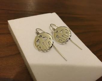 Silver Poppy Dangly Earrings
