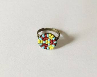 Antique seed beads ring