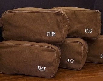 Set of 5 Groomsmen Gifts Mens Canvas Toiletry Bag Monogrammed