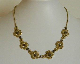 Elegant Vintage Filigree Style Flower Necklace with Marcasite Accents- Pretty Classic Retro Garden Gold Marked Silver