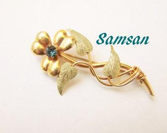 1940s Samsan Gold Filled Floral Brooch / Rose & Green Gold / Designer Signed / 1/20 GF 12KT Gold / Vintage Jewelry / Jewellery