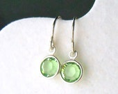 Peridot Crystal Earrings Sterling Silver Green - Tiny Solitaire Drop - Leo August Bridesmaid Gift Wedding - Framed Stone Jewelry Swarovski