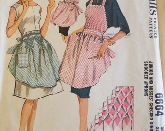 Hey Good Lookin' What ya got cookin' Misses Checked Gingham Smocked Apron Pattern 6664 McCalls