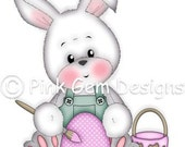 Digi Stamp Bunny Painting Egg - Birthday, Easter, Mothers Day etc