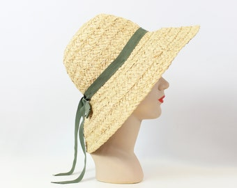 vintage straw sun hat / 1980s straw beach hat / wide brim woven summer hat / natural tan straw hat / picture hat / vacation hat