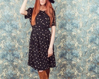 black floral dress,floral dress in medium or large,winter floral dress