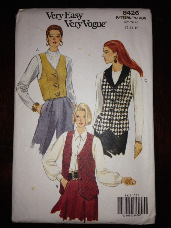 Very Easy Very Vogue 8426 Sewing Pattern 1990s Uncut Misses and Misses Petite Vest Size 12-14-16
