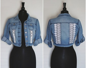 Upcycled Jean Jacket with Lace Inserts Cut-out Panels Front and Back Distressed Denim