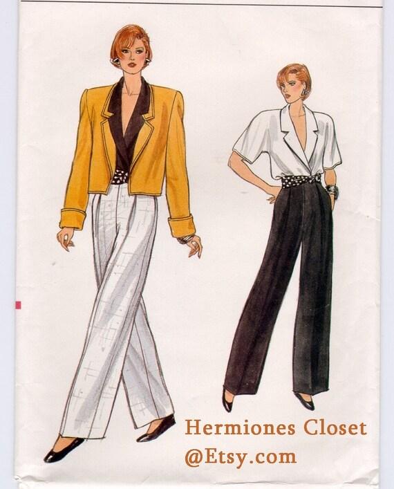 1980s Vogue 9635 Misses EASY Jacket Trousers Wrap Blouse