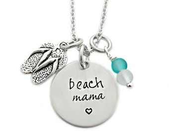 Beach Mama Necklace - Engrave Jewelry - Beach Jewelry - Flip Flop - Sea Glass - Summer Beach Jewelry - Beach Girl - Personalized Gift