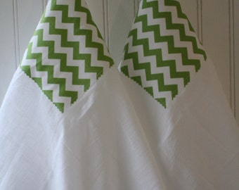 Flour Sack Towels- Apple Green Chevron, Kitchen Decor, Spring Home Update, Mother's Day, Cottage Chic, Housewares