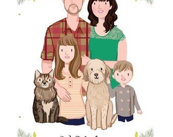 Custom Family Portrait, couple portrait, with or without children and pets