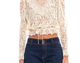 1970s Victorian Style Lace Blouse Size: S/M