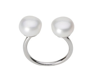 Ring, 925/000 Silver, freshwater pearls, white.