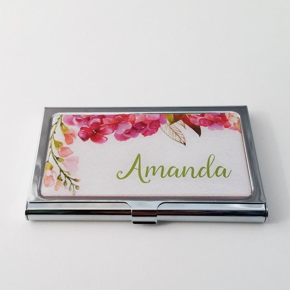 Personalized Business Card Holder Custom Pink Flowers