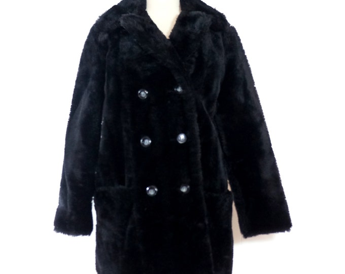 Black Fur Jacket 1980s Vintage Faux Fur Coat SMALL MEDIUM Fun Fur Fluffy Peacoat Warm Winter Jacket Double Breasted Lined Furry Pea Coat USA
