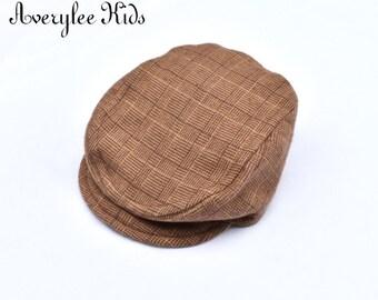 Boys  Flannel Brown Plaid Newsboy Hat, Newsboy Cap Boys, Toddler Newsboy Hat, Brown Plaid Newsboy Hat, Boys Driving Cap, Boys Golf Hat