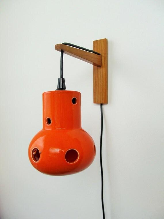 Ceramic Wall Lamp Shades : Vintage Wall Lamp Orange German Ceramic Wall Sconce Lamp