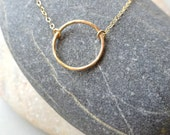Circle Necklace, Gold Circle Necklace, Hand Hammered Jewelry Gold Jewelry Karma Necklace Circle Minimal Necklace Boho Jewelry, Jewelry Gift