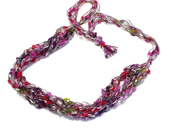 Red & Pink Ladder Yarn Necklace - Crocheted Yarn Necklace, Fiber Jewelry, Lariat Necklace, Ribbon Necklace, Handmade, Ready to Ship
