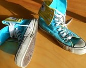 Converse Hightop Canvas Sneakers Aqua and Yellow Mens Size 7