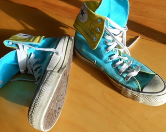 Free US Shipping Converse Hightop Canvas Sneakers Aqua and Yellow Mens Size 7