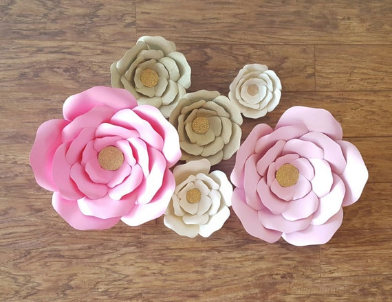 Giant paper flowers pink gold paper flower backdrop giant flower pink gold giant paper flowers mightylinksfo
