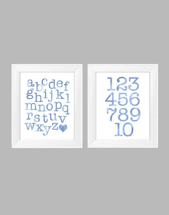 Blue ABC 123 Print Set for Playroom, Set of 2-11x14