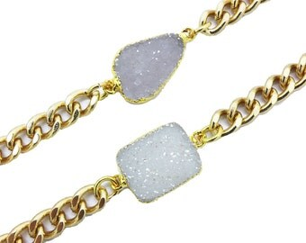 Agate Bracelet, Druzy Bracelet, Gold Chain Druzy Bracelet