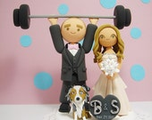 weight lifting theme with a dog Custom wedding cake topper