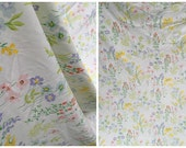 70's Utica Twin Flat Sheet No Iron Percale - White with Mixed Spring Flowers