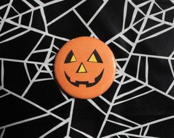 Jack-O-Lantern Pumpkin - Halloween Pinback Button Pin OR Magnet